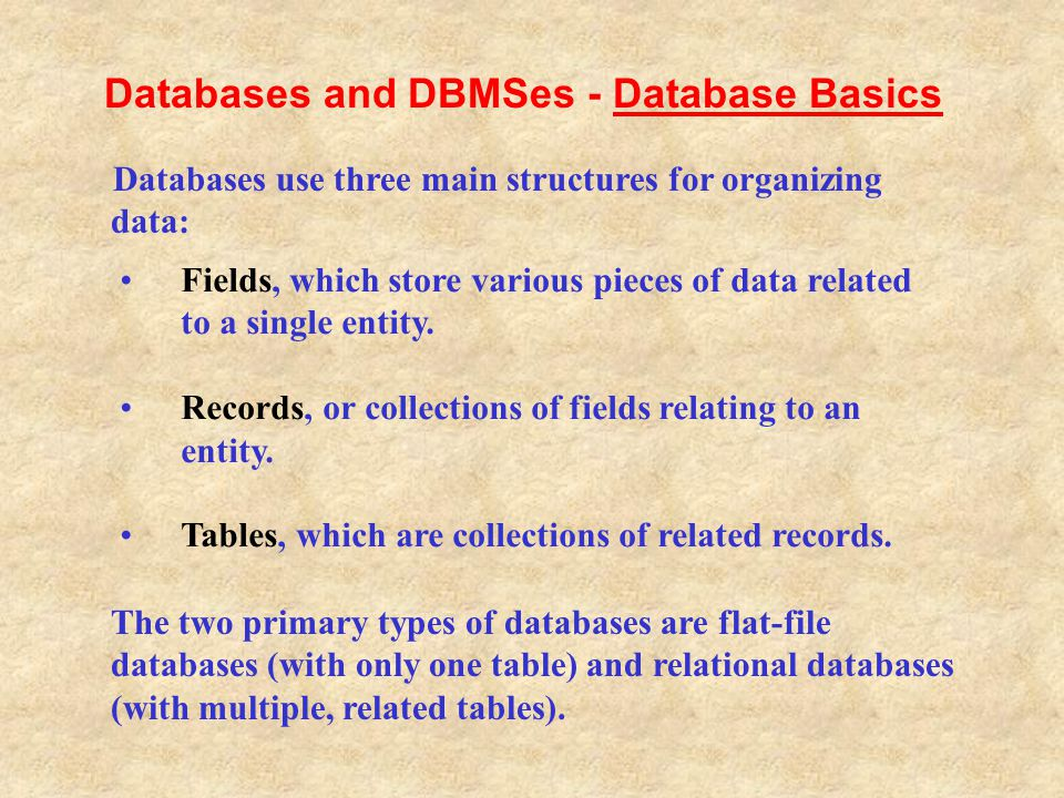 Databases and DBMSes - Database Basics