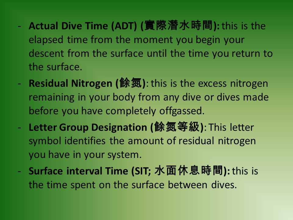 Actual Dive Time (ADT) (實際潛水時間): this is the elapsed time from the moment you begin your descent from the surface until the time you return to the surface.