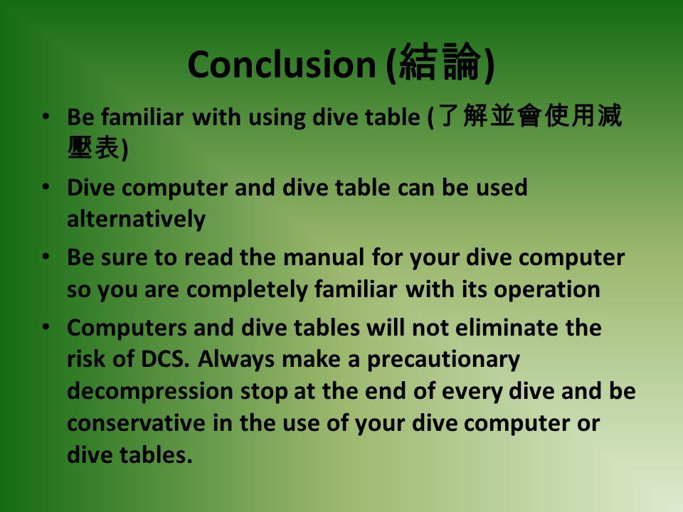 Conclusion (結論) Be familiar with using dive table (了解並會使用減壓表)