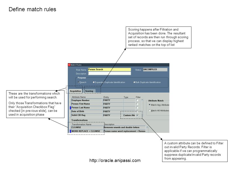Define match rules http://oracle.anipassi.com
