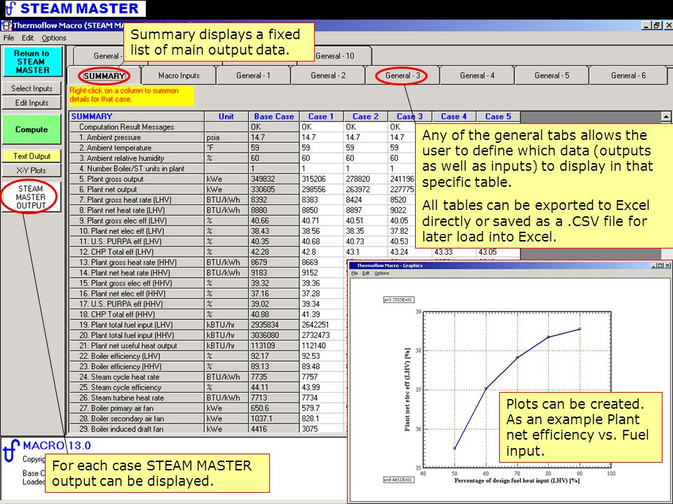 Summary displays a fixed list of main output data.