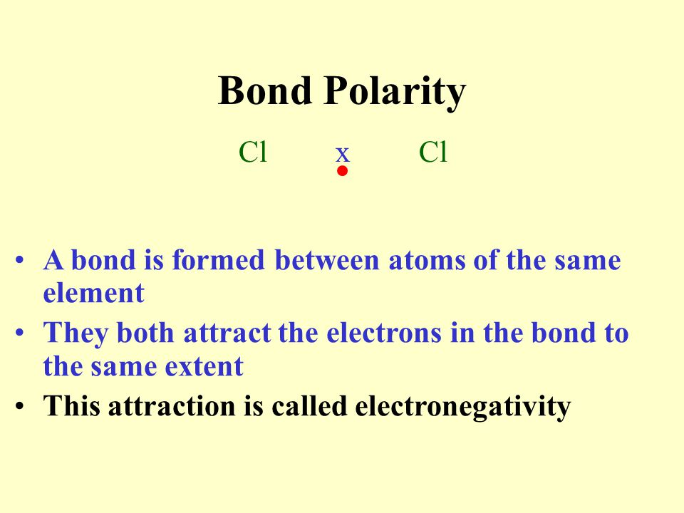 Bond Polarity Cl x Cl. A bond is formed between atoms of the same element.