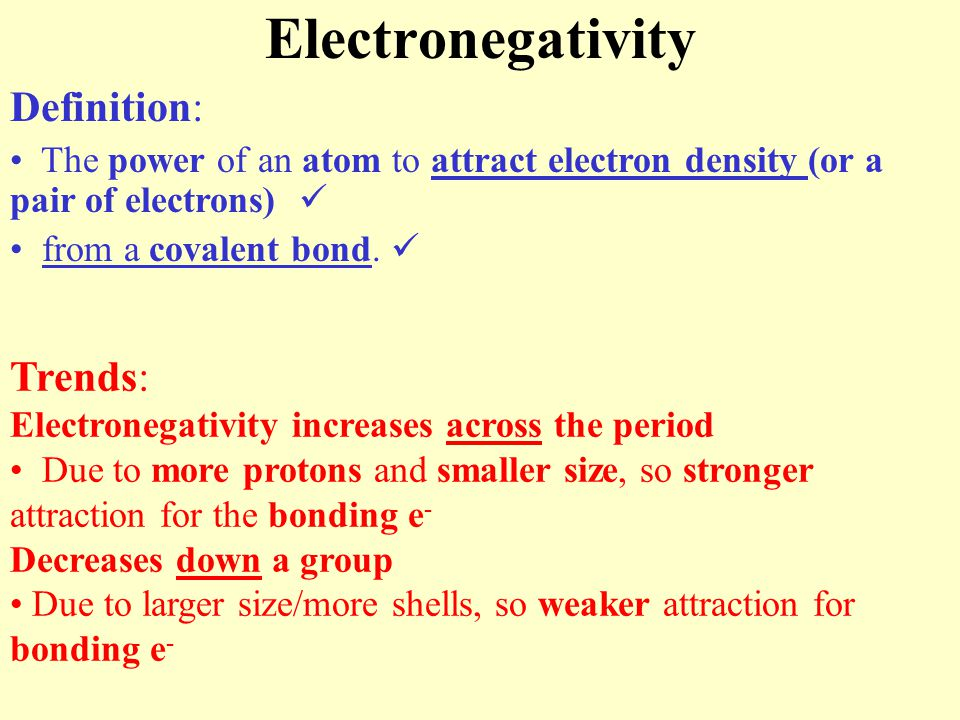 Electronegativity Definition: Trends:
