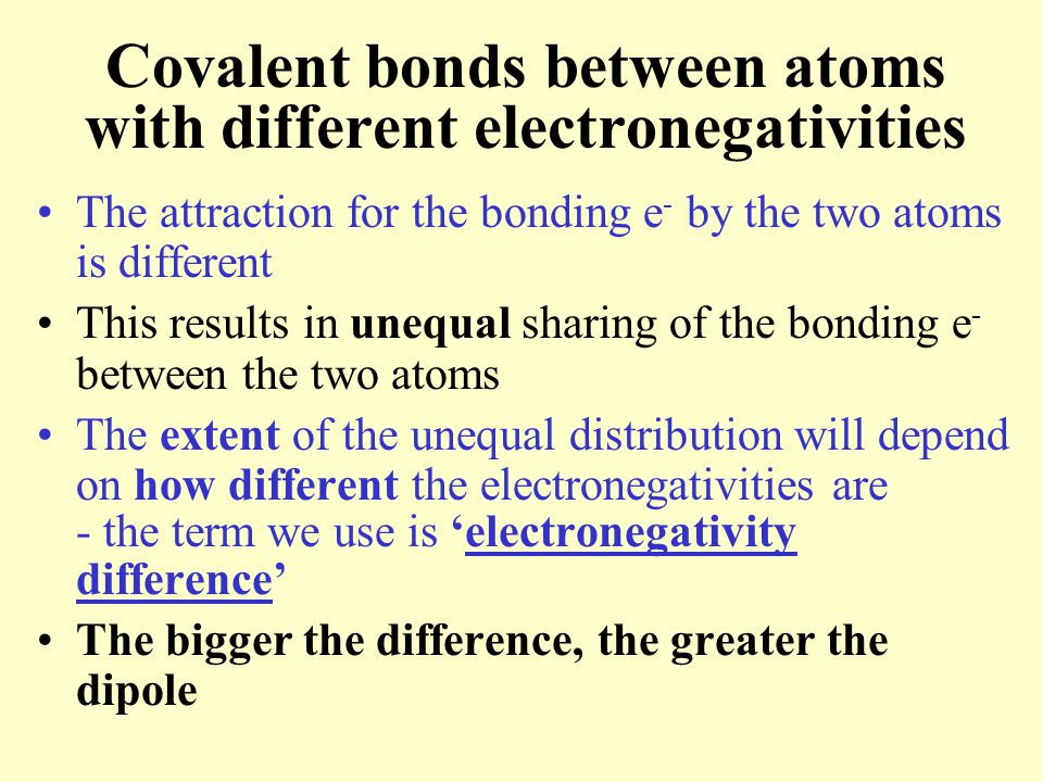 Covalent bonds between atoms with different electronegativities