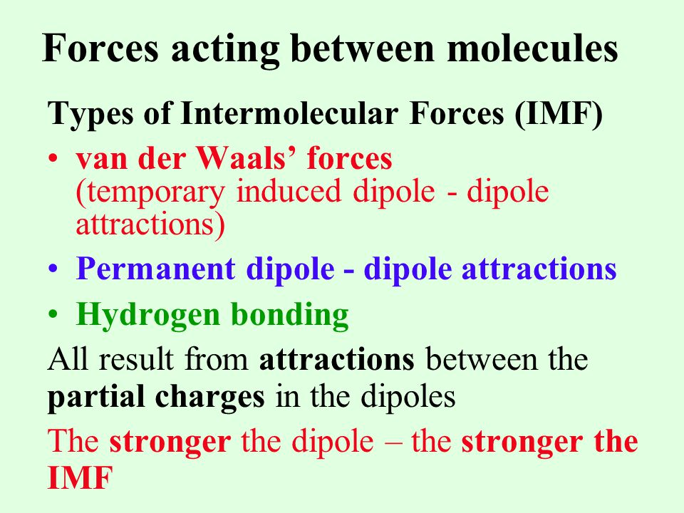 Forces acting between molecules