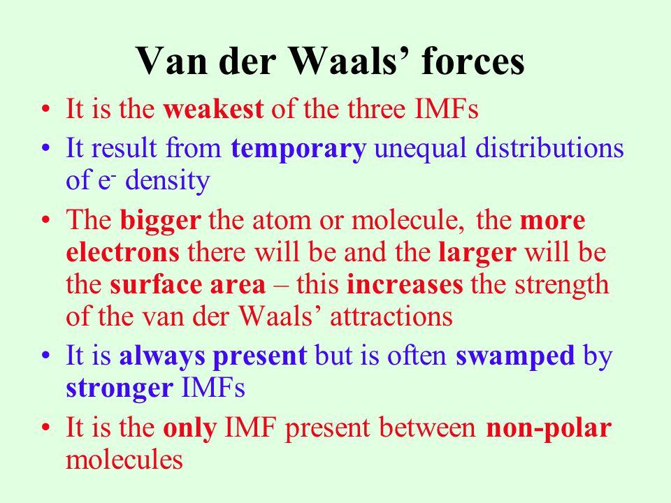 Van der Waals' forces It is the weakest of the three IMFs
