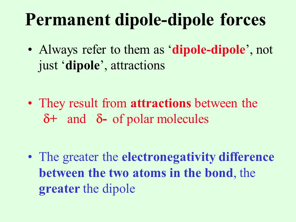 Permanent dipole-dipole forces