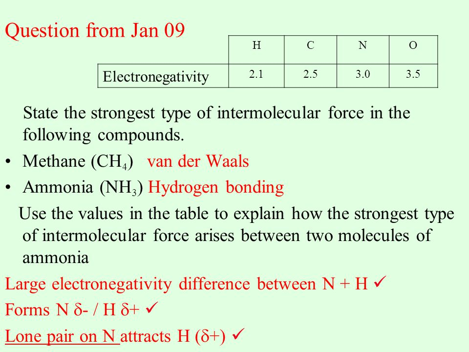 Question from Jan 09 H. C. N. O. Electronegativity. 2.1. 2.5. 3.0. 3.5.