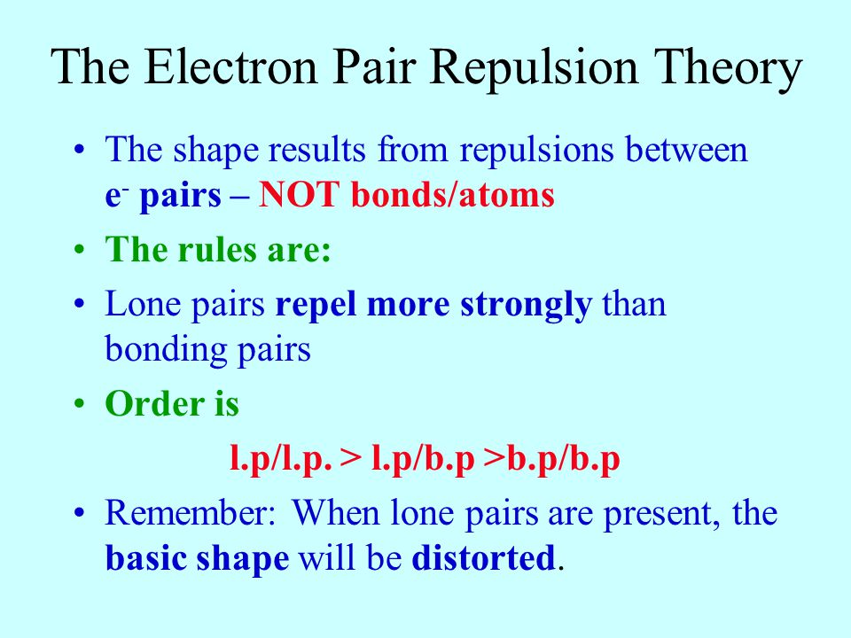 The Electron Pair Repulsion Theory