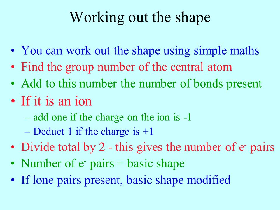 Working out the shape If it is an ion