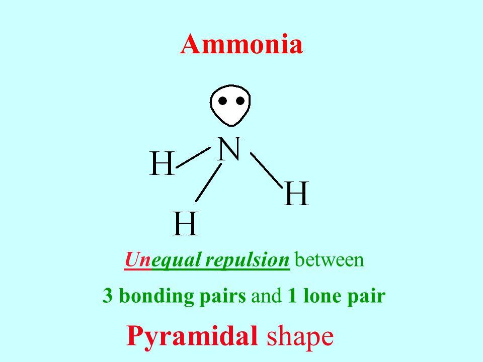 Ammonia Pyramidal shape Unequal repulsion between