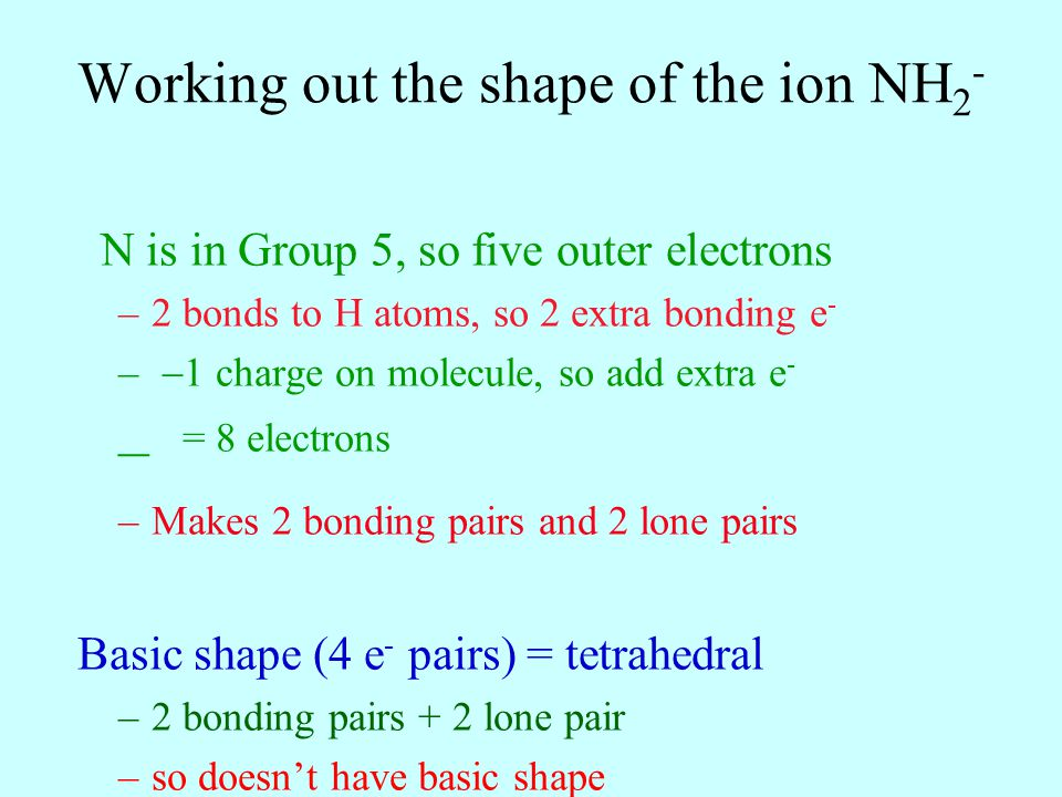 Working out the shape of the ion NH2-