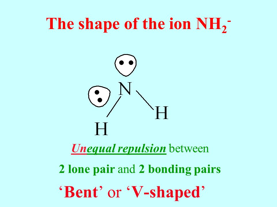 The shape of the ion NH2- 'Bent' or 'V-shaped'