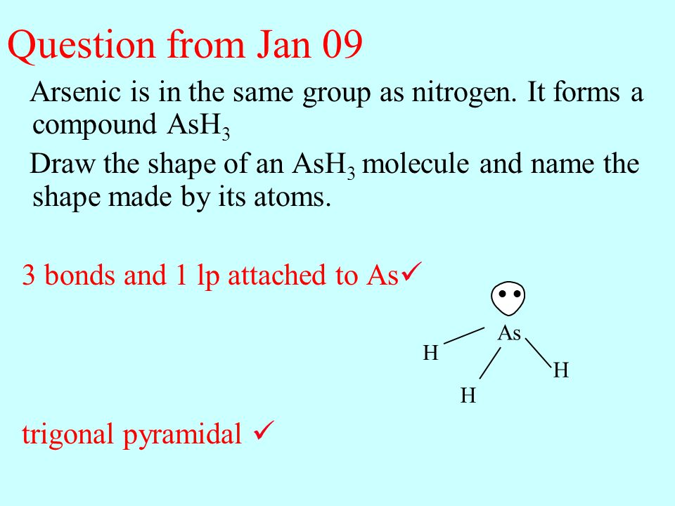 Question from Jan 09 Arsenic is in the same group as nitrogen. It forms a compound AsH3.