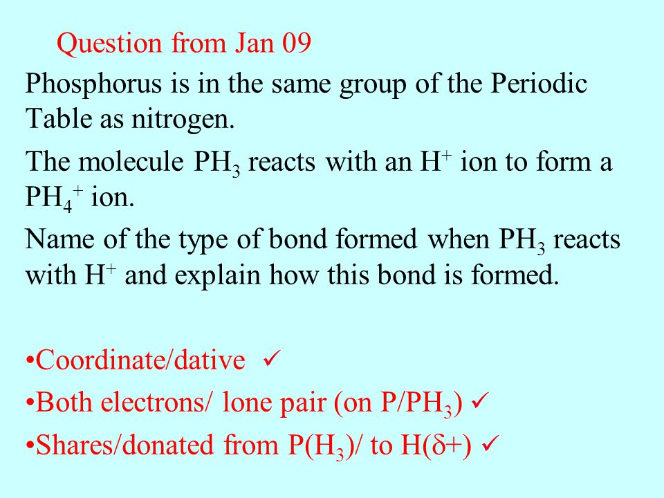 Question from Jan 09 Phosphorus is in the same group of the Periodic Table as nitrogen. The molecule PH3 reacts with an H+ ion to form a PH4+ ion.