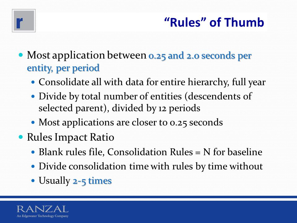 Rules of Thumb Most application between 0.25 and 2.0 seconds per entity, per period. Consolidate all with data for entire hierarchy, full year.