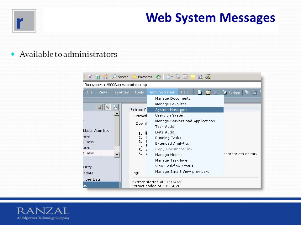 Web System Messages Available to administrators