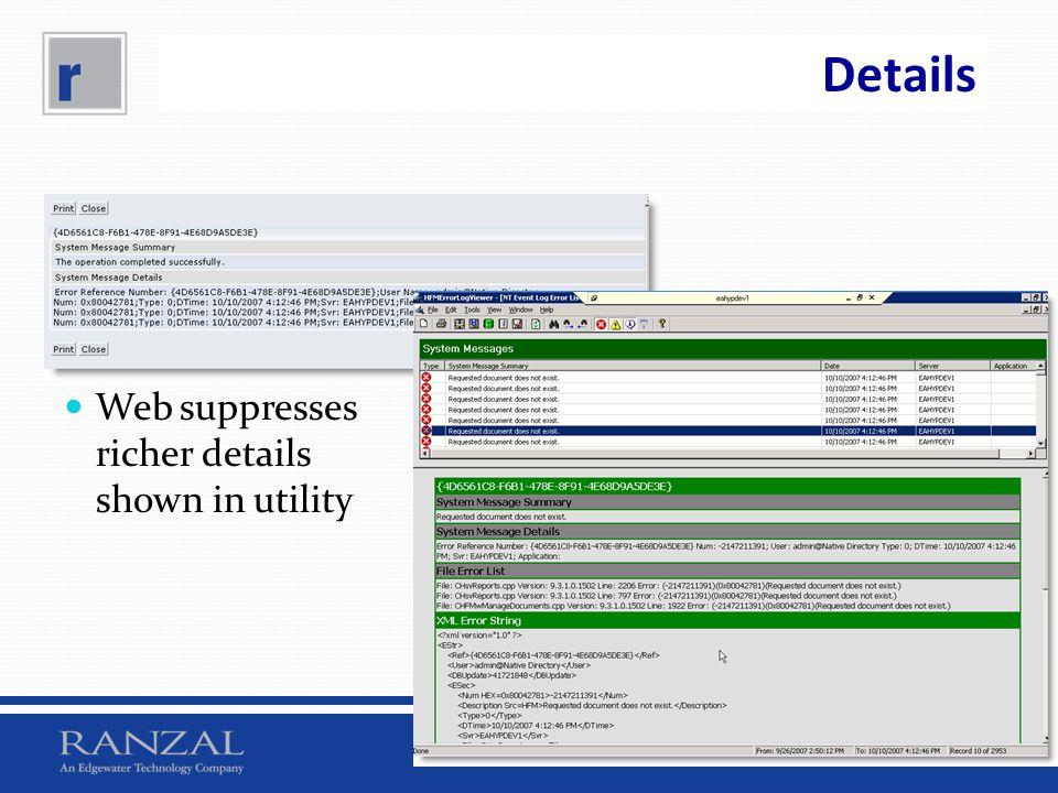 Details Web suppresses richer details shown in utility
