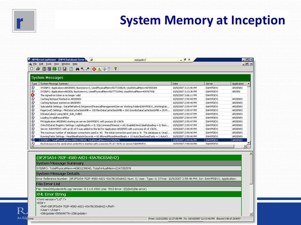 System Memory at Inception