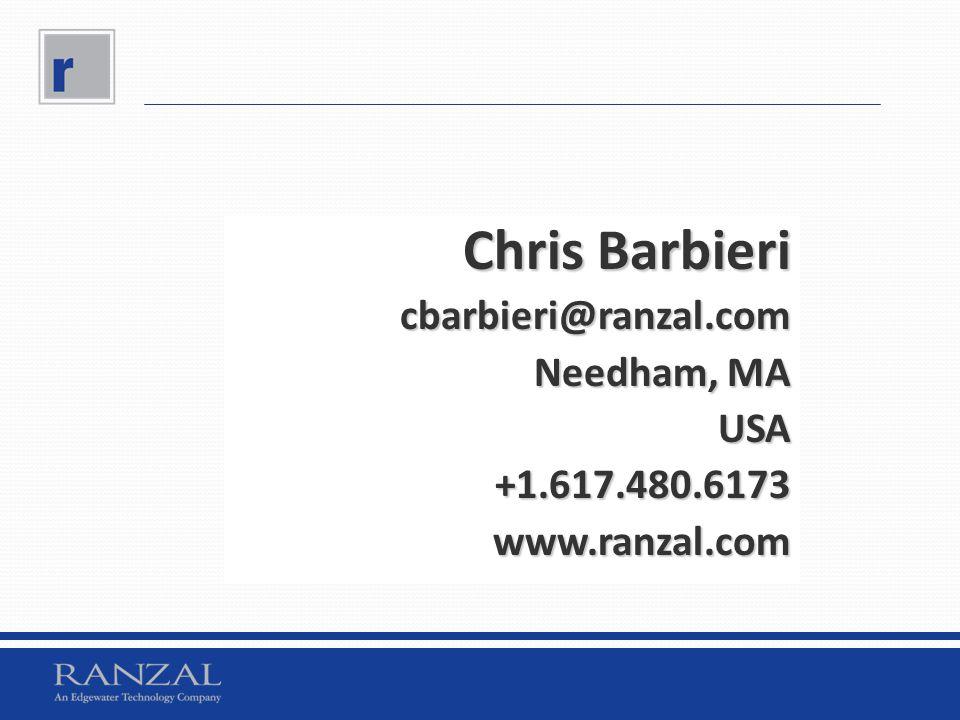Chris Barbieri cbarbieri@ranzal.com Needham, MA USA +1.617.480.6173