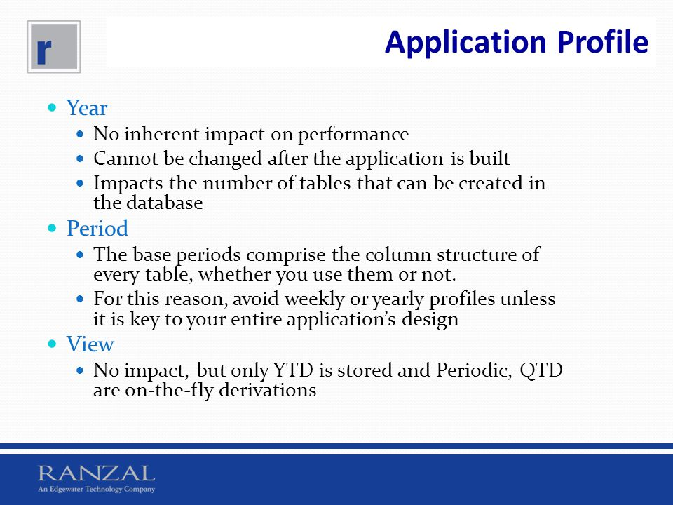 Application Profile Year Period View No inherent impact on performance