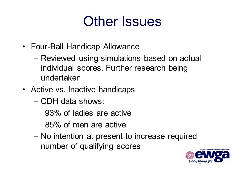 Other Issues Four-Ball Handicap Allowance