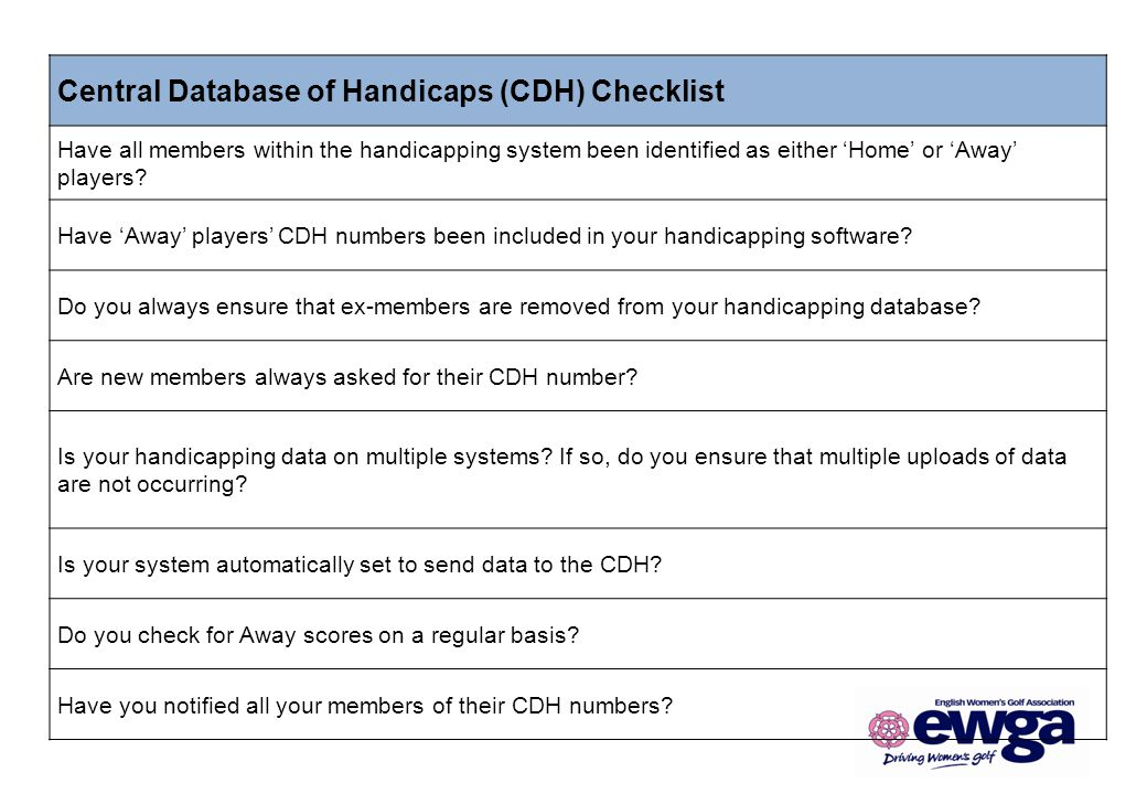 Central Database of Handicaps (CDH) Checklist