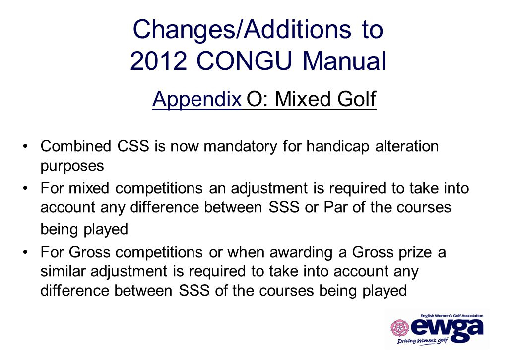 Changes/Additions to 2012 CONGU Manual
