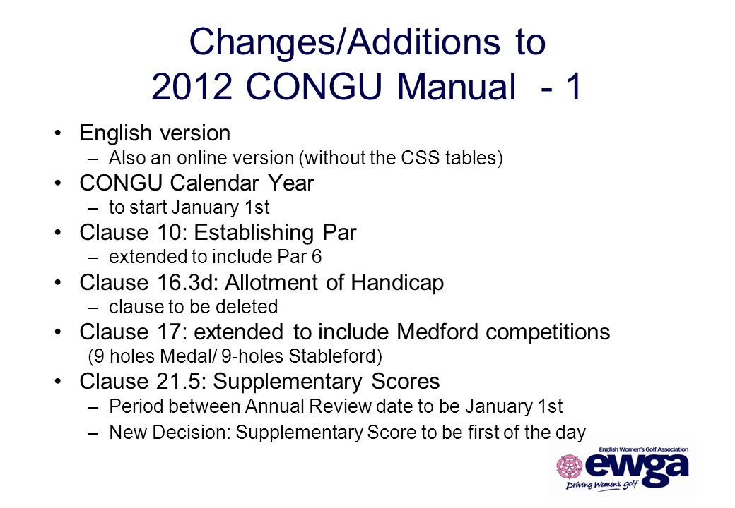 Changes/Additions to 2012 CONGU Manual - 1