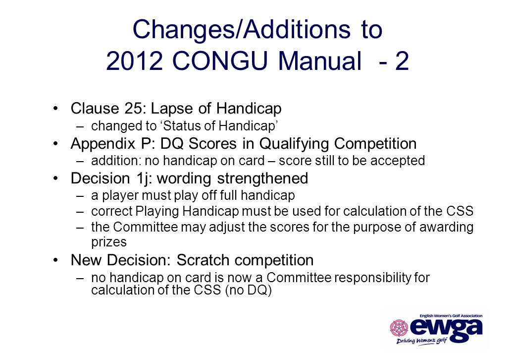 Changes/Additions to 2012 CONGU Manual - 2