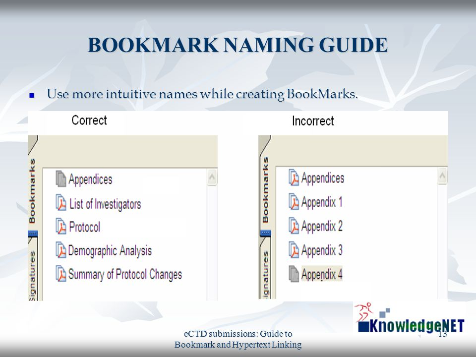 eCTD submissions: Guide to Bookmark and Hypertext Linking