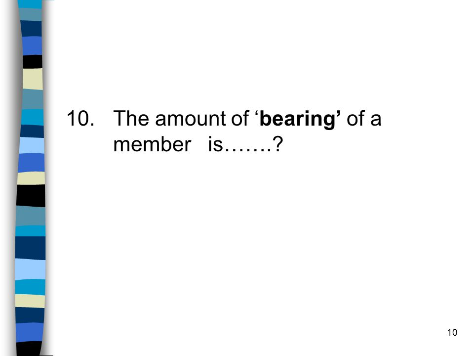 10. The amount of 'bearing' of a member is…….