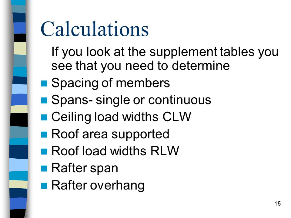 Calculations If you look at the supplement tables you see that you need to determine. Spacing of members.