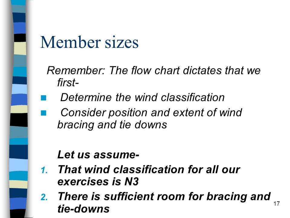Member sizes Remember: The flow chart dictates that we first-