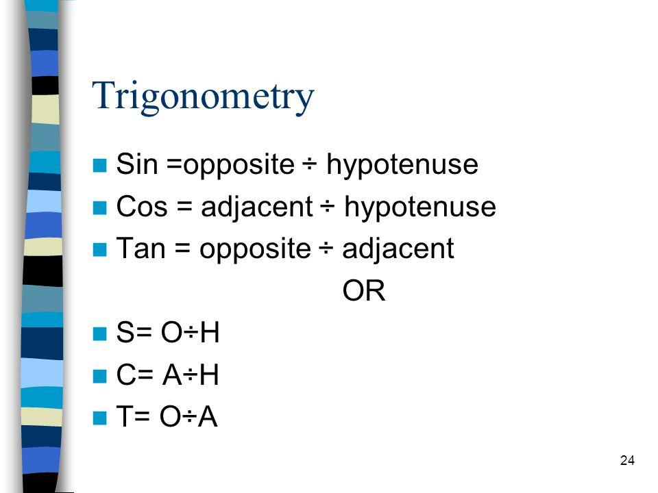 Trigonometry Sin =opposite ÷ hypotenuse Cos = adjacent ÷ hypotenuse