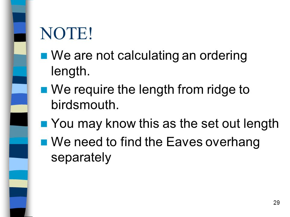NOTE! We are not calculating an ordering length.