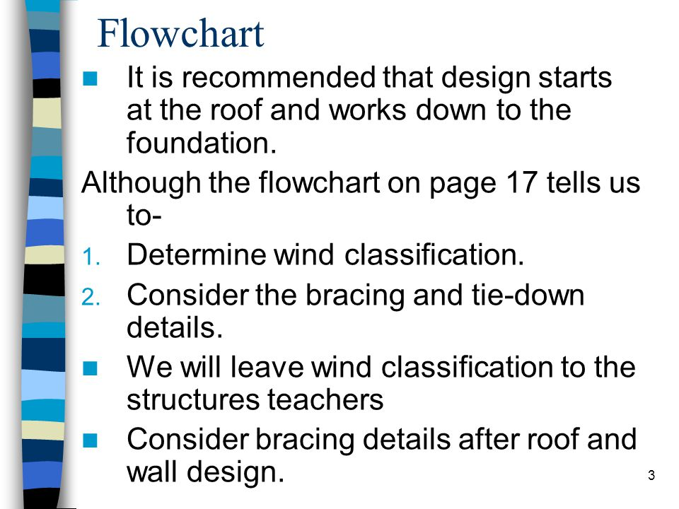 Flowchart It is recommended that design starts at the roof and works down to the foundation. Although the flowchart on page 17 tells us to-