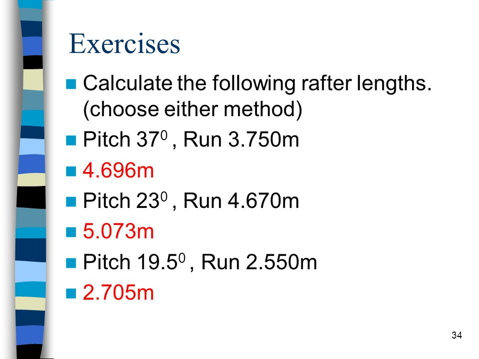 Exercises Calculate the following rafter lengths. (choose either method) Pitch 370 , Run 3.750m. 4.696m.