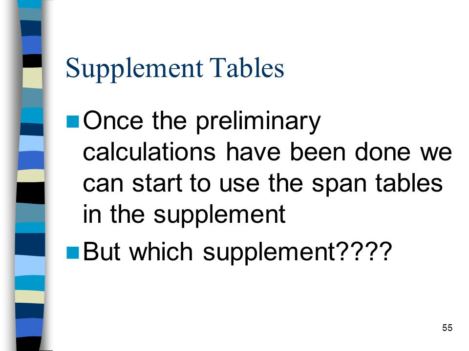Supplement Tables Once the preliminary calculations have been done we can start to use the span tables in the supplement.
