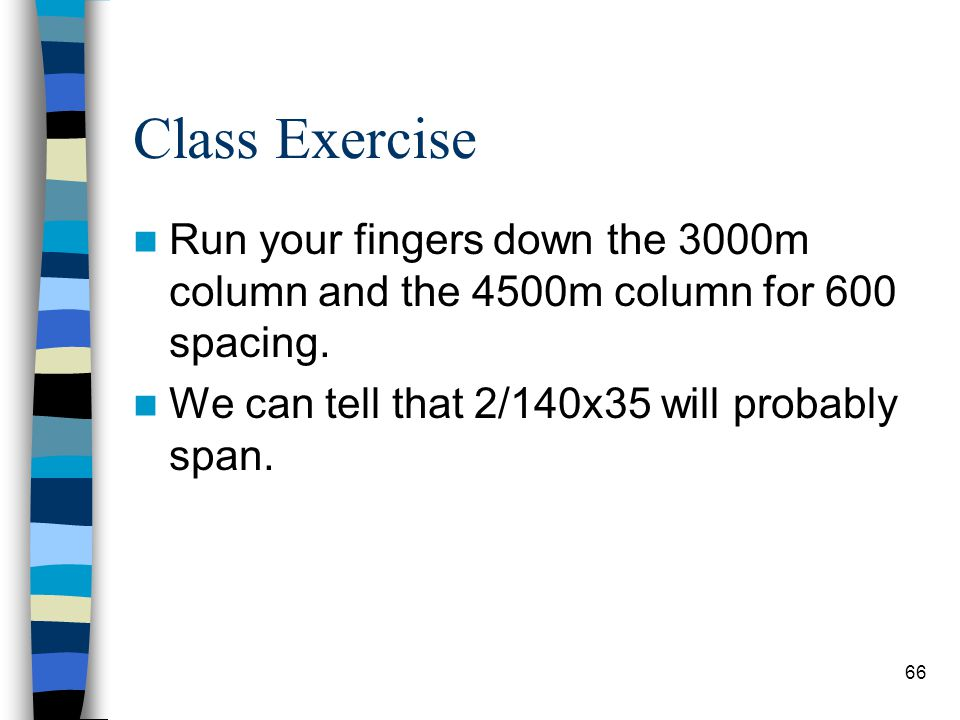 Class Exercise Run your fingers down the 3000m column and the 4500m column for 600 spacing.