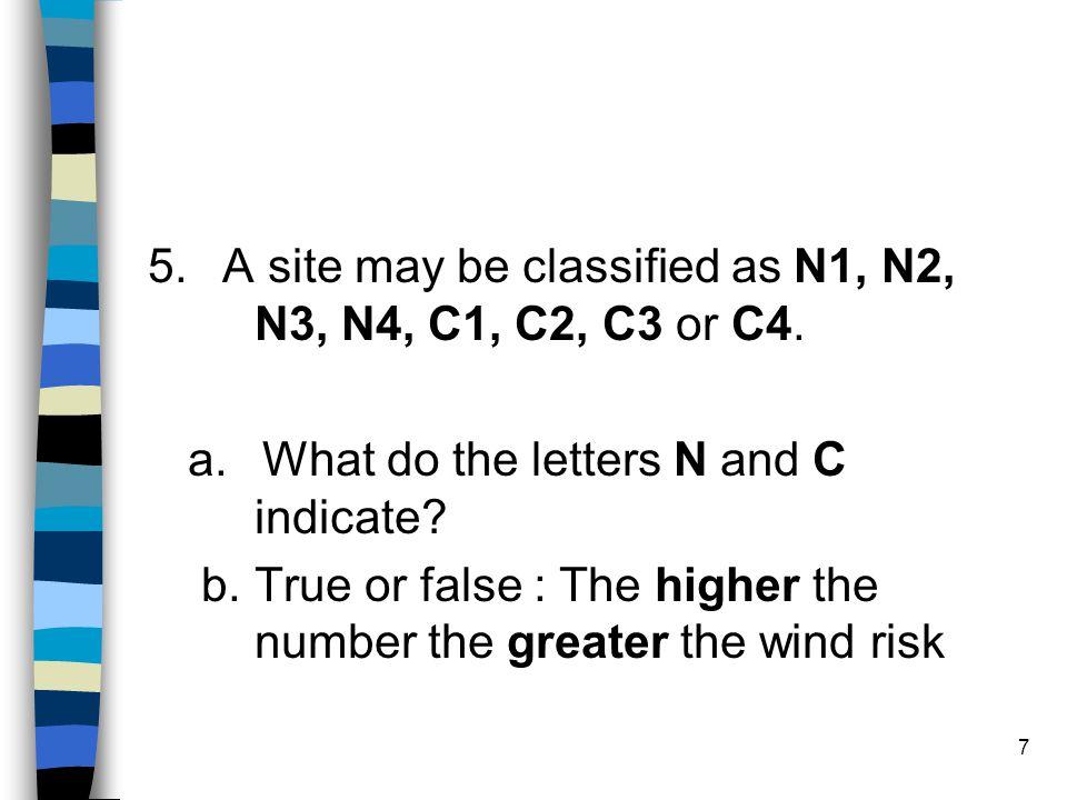 5. A site may be classified as N1, N2, N3, N4, C1, C2, C3 or C4.