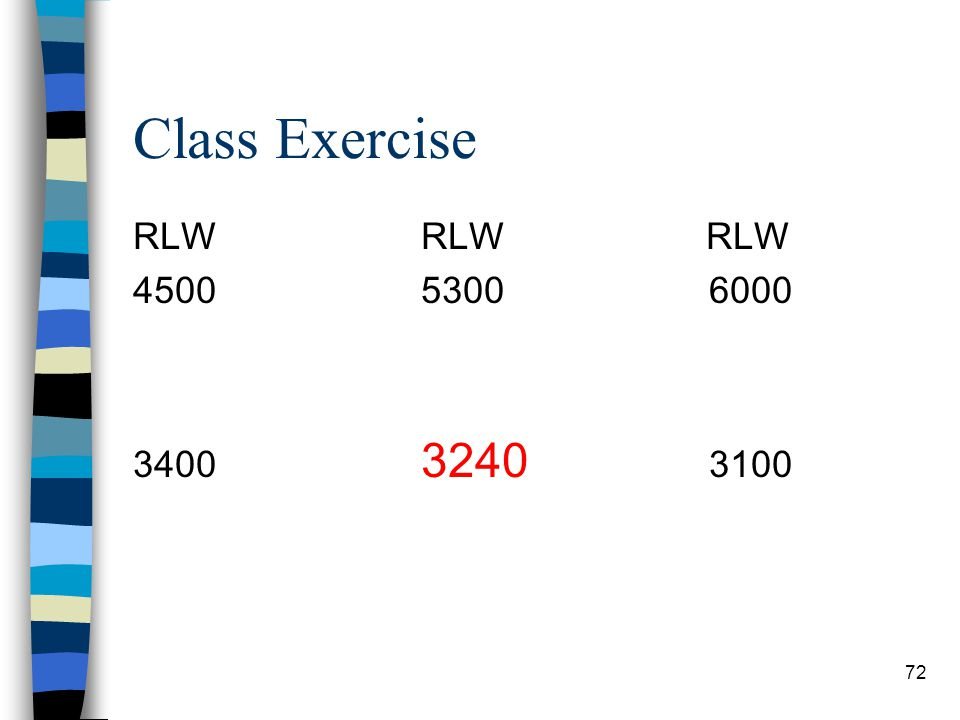 Class Exercise RLW RLW RLW 4500 5300 6000 3400 3240 3100