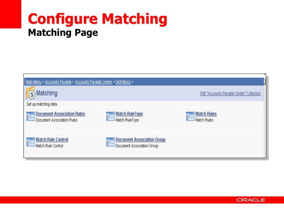 Configure Matching Matching Page
