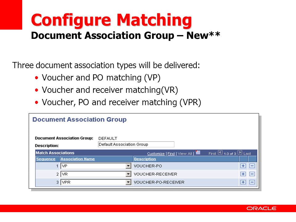 Configure Matching Document Association Group – New**