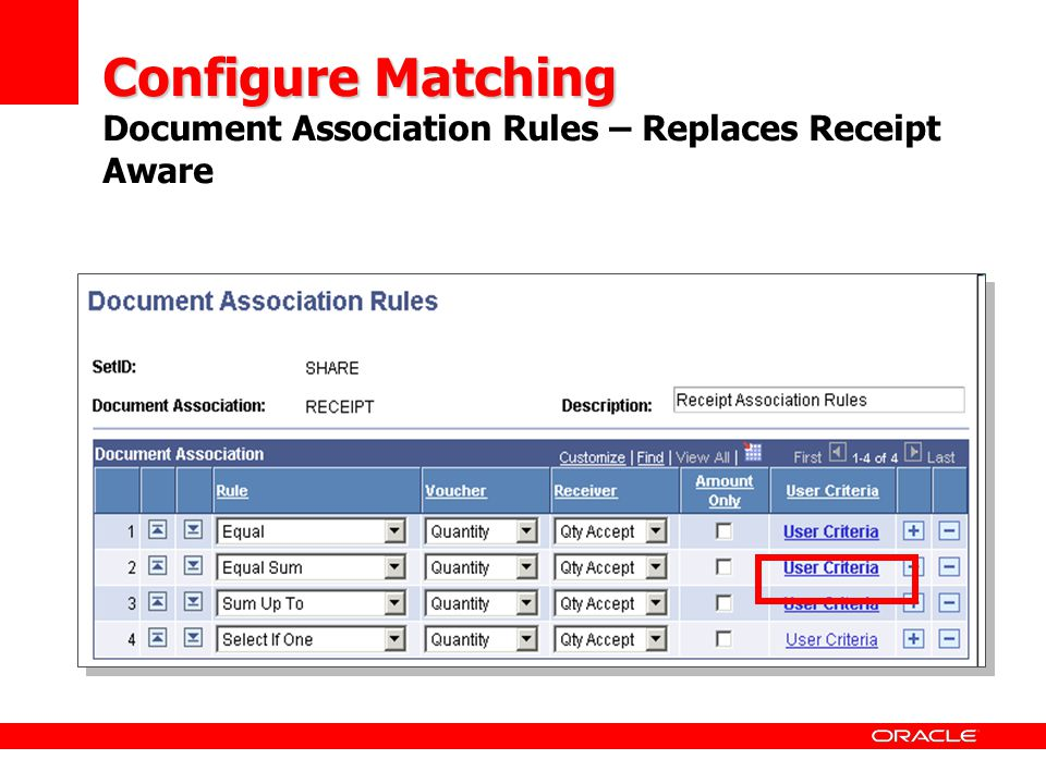 Configure Matching Document Association Rules – Replaces Receipt Aware