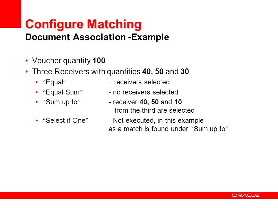 Configure Matching Document Association -Example