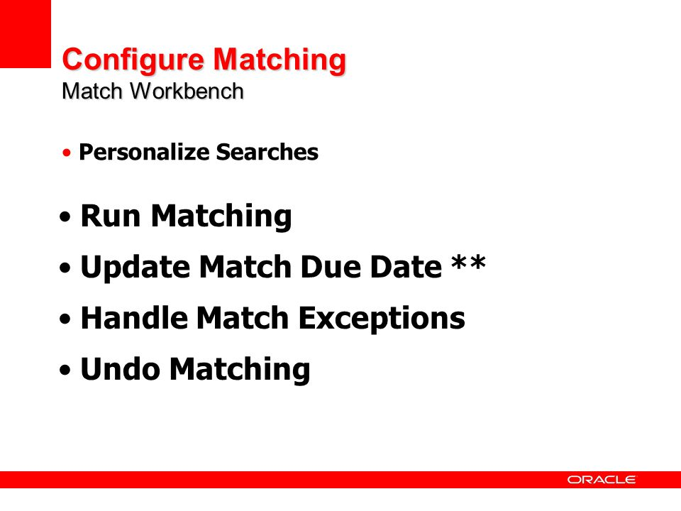 Configure Matching Match Workbench