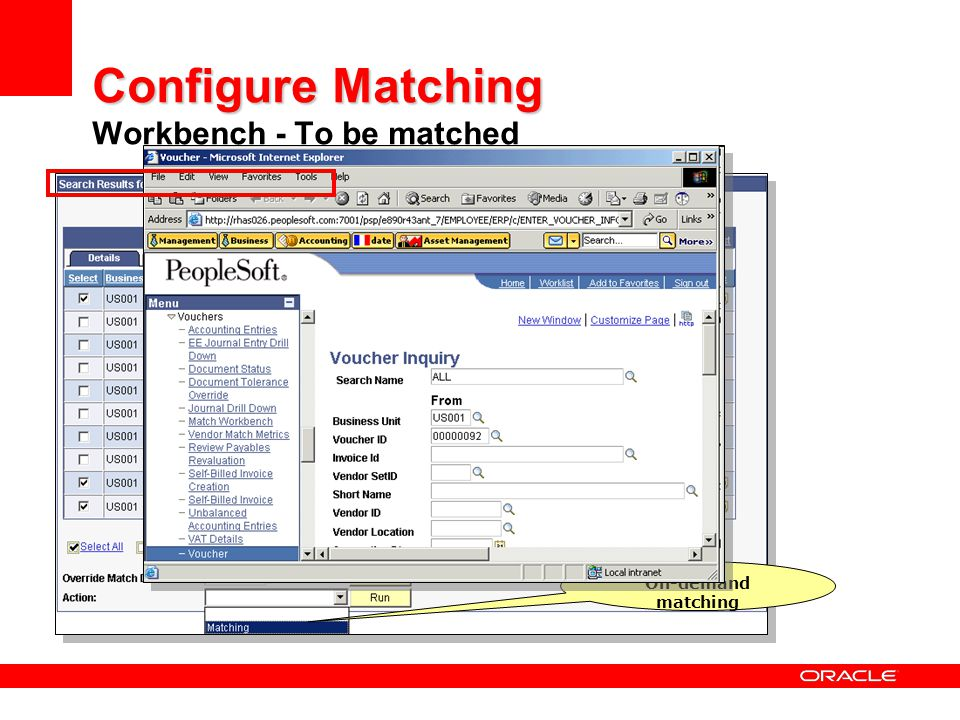 Configure Matching Workbench - To be matched