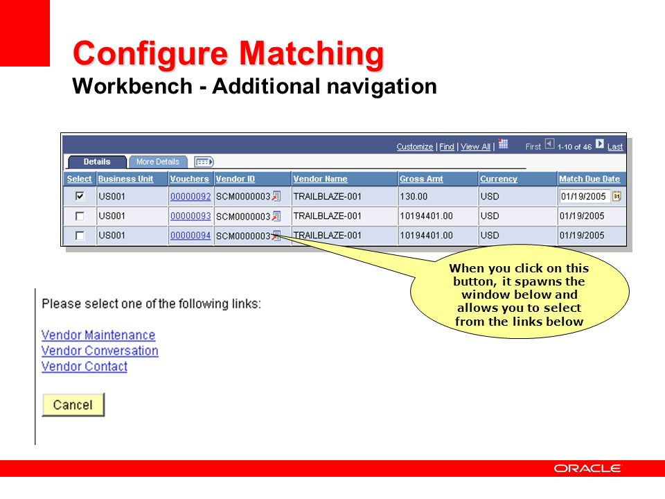 Configure Matching Workbench - Additional navigation