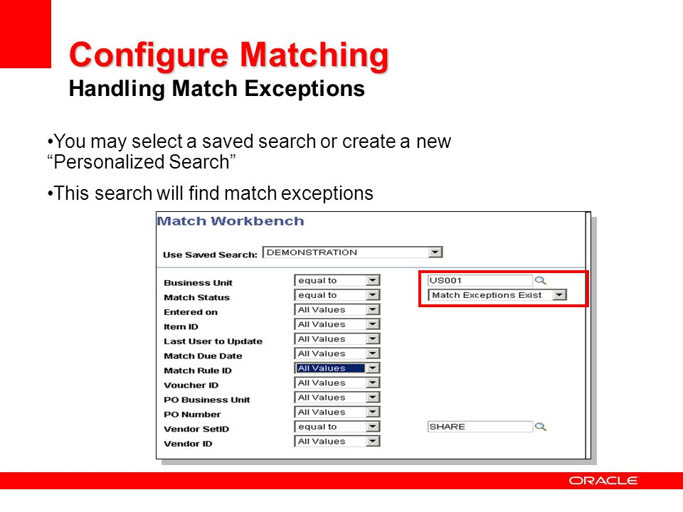 Configure Matching Handling Match Exceptions